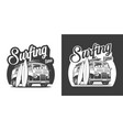 vintage surfing time monochrome label vector image