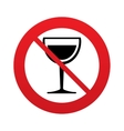 Wine glass sign icon Dont drink alcohol symbol vector image vector image