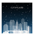 winter night in cleveland night city in flat vector image vector image