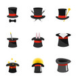 wizard icons set flat style vector image