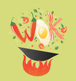 wok logo for thai or chinese restaurant stir fry vector image vector image