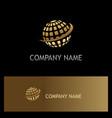 globe sphere digital technology gold logo vector image