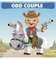 odd couple Cowboy rider and horse vector image