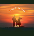 silhouette happy family sun and sky sunset vector image