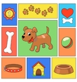 Funny cartoon dog and icons - vector image