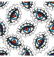 hand drawn eye doodles sticker seamless pattern vector image