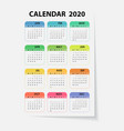 2020 calendar templatecalendar 2020 set of 12 vector image