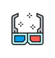 3d cinema glasses flat color line icon vector image