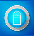 Arched window icon isolated on blue background
