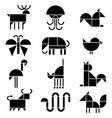 black and white animals pictograms vector image vector image