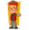 Cartoon hitch-hiking man in sunglasses vector image vector image