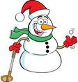 cartoon snowman holding a golf club vector image vector image