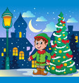 christmas elf theme 2 vector image vector image