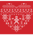 Christmas heart shape with gingerbread man on red vector image