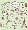 collection of different bakery coffe and paris vector image vector image