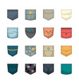 colored pockets patches and fabric pockets vector image vector image