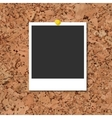 cork board with photo card and yellow pin vector image vector image