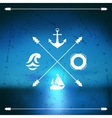 Design postcard with marine label and symbol vector image vector image