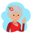 drawing of icon elderly woman in the cloud vector image