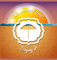 emblem of a umbrella over the sand and sea vector image vector image
