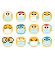 face masks emoticons vector image