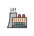 factory industrial building flat color line icon vector image