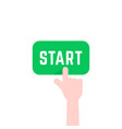 finger pushing green start button vector image vector image
