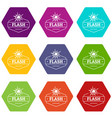 flash icons set 9 vector image vector image