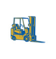 Forklift Truck Side Woodcut vector image vector image