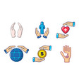 hand protect icon set cartoon style vector image