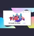 handcraft hobwebsite landing page tiny female vector image vector image