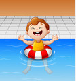 happy little boy floating in swimming pool with in vector image vector image