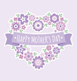 happy mothers day card floral heart purple vector image