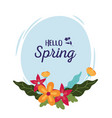 happy spring decorative flowers leaves round vector image