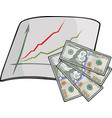 isolated art with dollars and chart vector image vector image