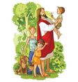 jesus with children christian cartoon vector image vector image