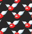 Kiss seamless pattern Red luscious lips with wings vector image vector image