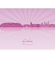 Lisbon V2 skyline in purple radiant orchid vector image vector image