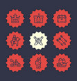 medieval war line icons set vector image vector image