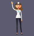 nurse woman waving her hand flat vector image