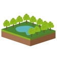 Park with lake icon vector image