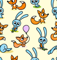 pattern with foxes and hares vector image vector image