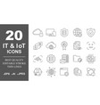 premium set network it iot line icons simple vector image vector image