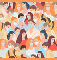 seamless pattern with young people go in masks vector image