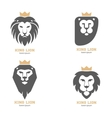 set abstract lion heads with crowns vector image vector image