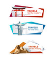 set banners on theme travel vector image vector image