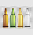 set of realistic glass beer bottles isolated on vector image