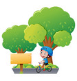 sign template with boy on bike vector image vector image