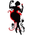 Silhouette of woman with wine vector image vector image