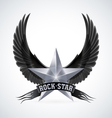 Silver star with Rock Star banner and wings vector image vector image